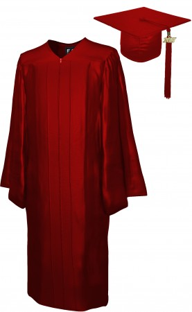 SHINY MAROON RED BACHELOR GRADUATION CAP & GOWN SET