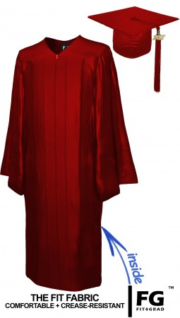 SHINY MAROON RED CAP AND GOWN