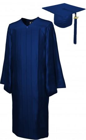 SHINY NAVY BLUE BACHELOR GRADUATION CAP & GOWN SET