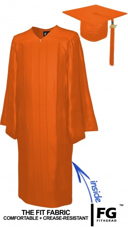 SHINY ORANGE CAP AND GOWN