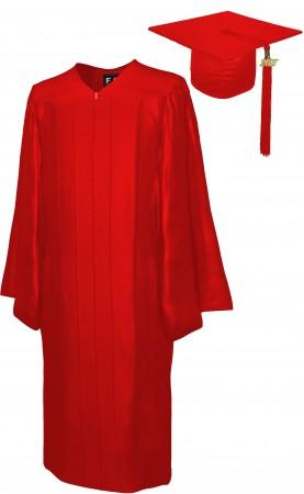 SHINY RED BACHELOR GRADUATION CAP & GOWN SET