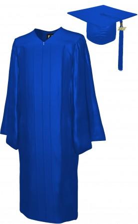SHINY ROYAL BLUE BACHELOR GRADUATION CAP & GOWN SET