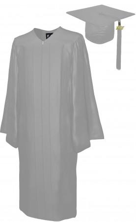 SHINY SILVER BACHELOR GRADUATION CAP & GOWN SET