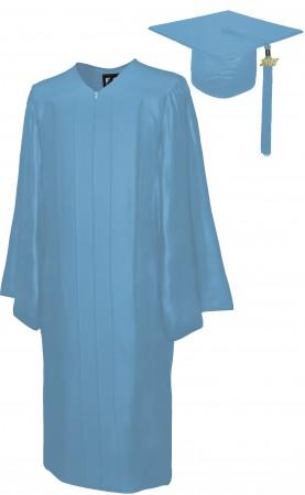 SHINY SKY BLUE BACHELOR GRADUATION CAP & GOWN SET