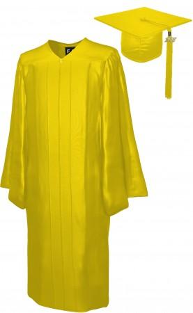 SHINY YELLOW GOLD BACHELOR GRADUATION CAP & GOWN SET