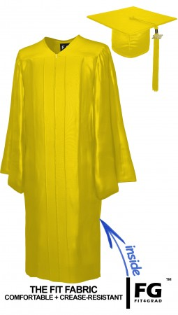 SHINY YELLOW GOLD CAP AND GOWN