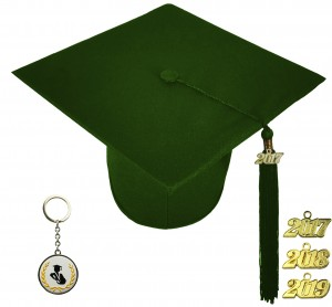 MATTE FOREST GREEN GRADUATION CAP HIGH SCHOOL