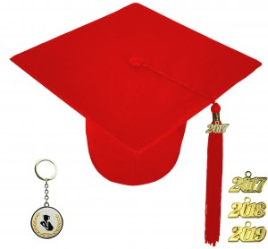 MATTE RED GRADUATION CAP ELEMENTARY SCHOOL