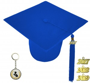 MATTE ROYAL BLUE GRADUATION CAP ELEMENTARY SCHOOL