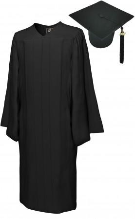 MATTE BLACK BACHELOR GRADUATION CAP & GOWN SET