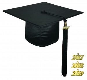 SHINY BLACK GRADUATION CAP TECHNICAL & VOCATIONAL