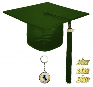 SHINY FOREST GREEN GRADUATION CAP ELEMENTARY SCHOOL
