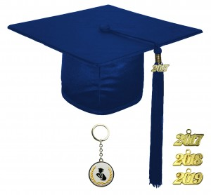 SHINY NAVY BLUE GRADUATION CAP TECHNICAL & VOCATIONAL