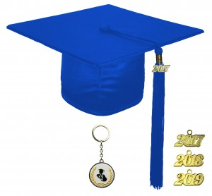 SHINY ROYAL BLUE GRADUATION CAP ELEMENTARY SCHOOL