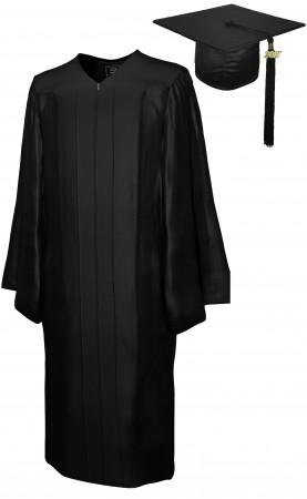 SHINY BLACK BACHELOR GRADUATION CAP & GOWN SET
