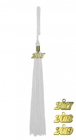WHITE BACHELOR GRADUATION TASSEL