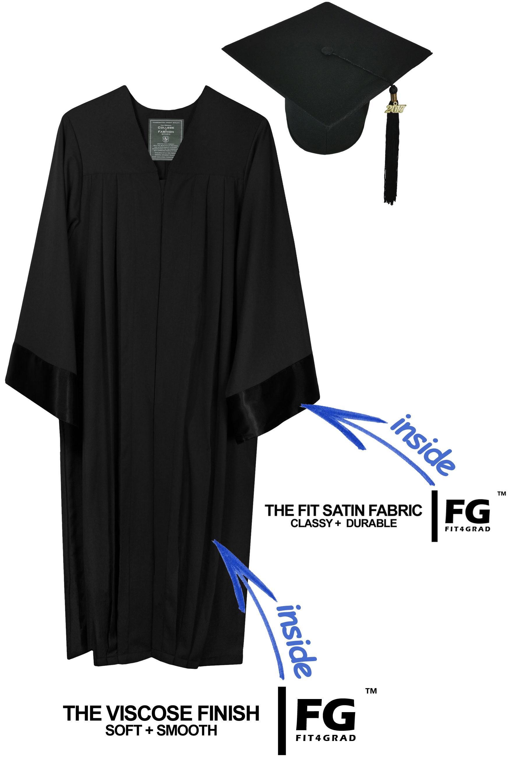 ELEGANT BLACK CAP & GOWN HIGH SCHOOL GRADUATION SET-rs4251465601691