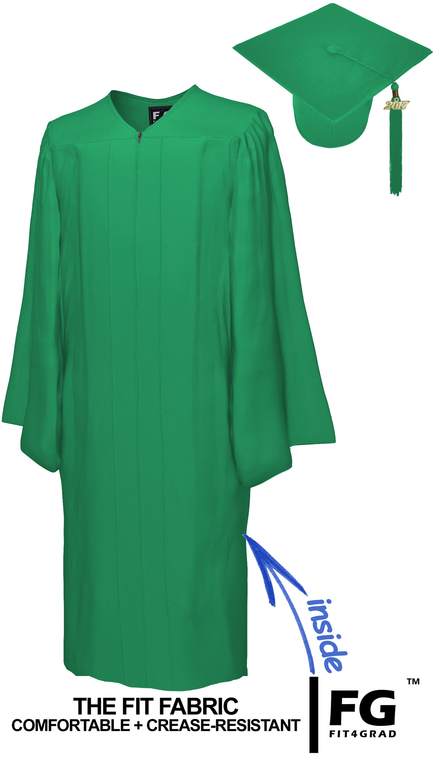 Matte Emerald Green Cap Gown Technical Vocational Graduation Set