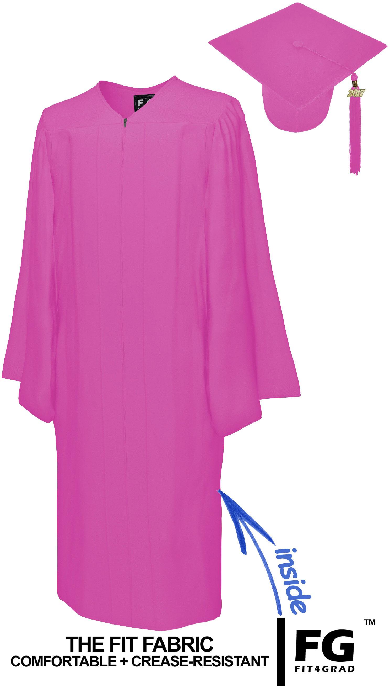 MATTE PINK CAP & GOWN BACHELOR GRADUATION SET-rs4251465601387