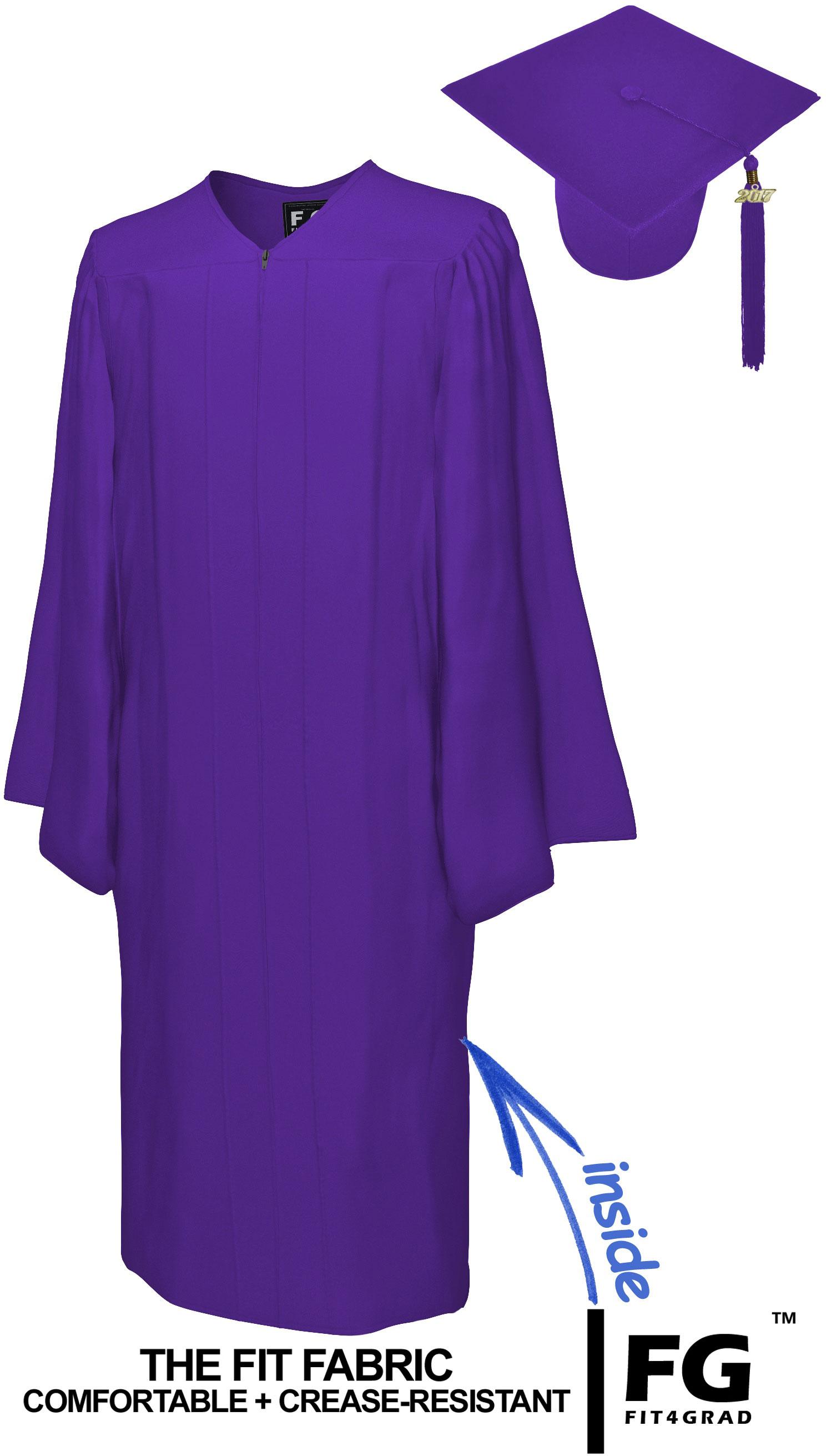 MATTE PURPLE CAP & GOWN BACHELOR GRADUATION SET-rs4251465601318