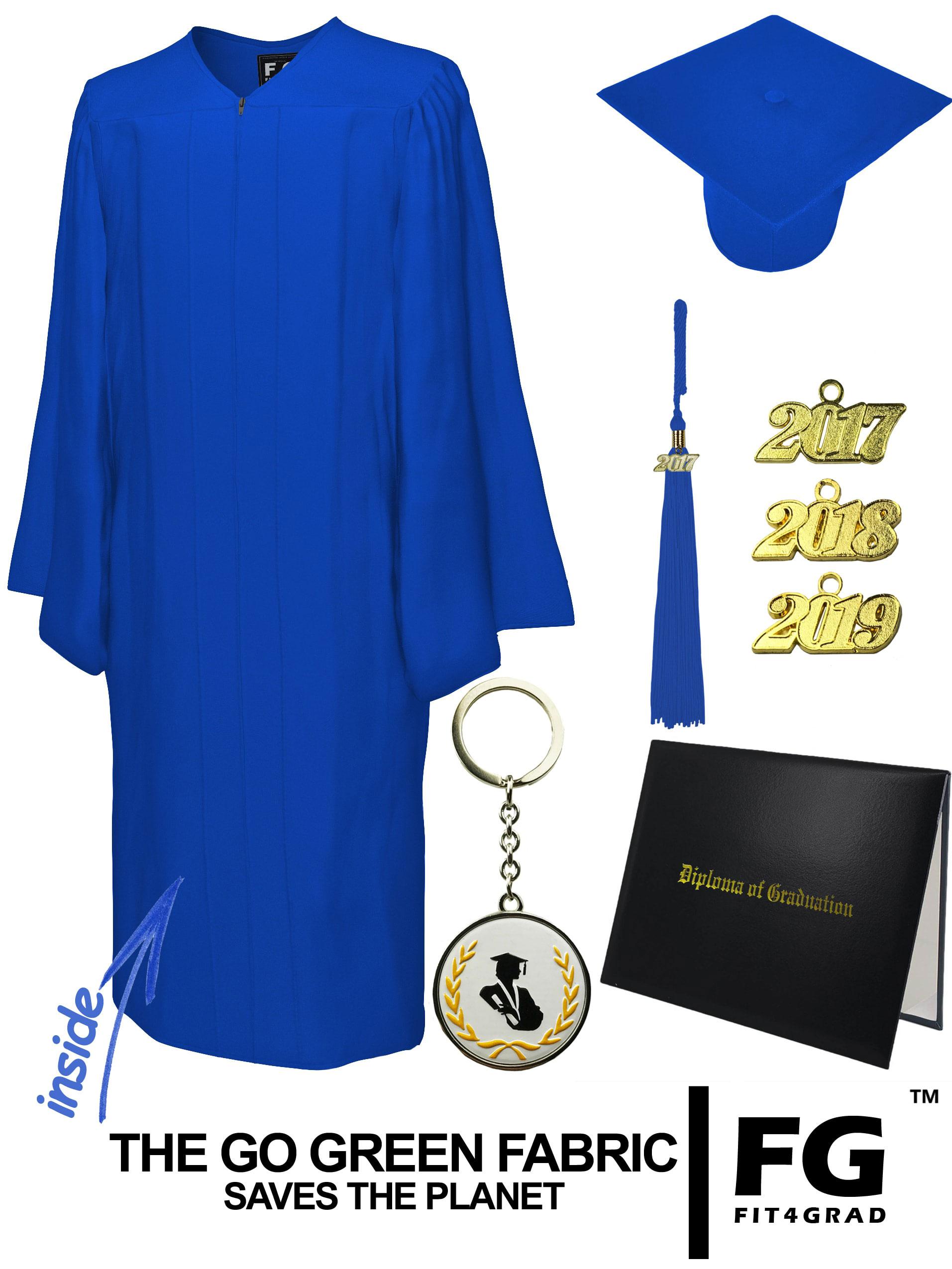 GO GREEN ROYAL BLUE CAP, GOWN, TASSEL, DIPLOMA COVER SET