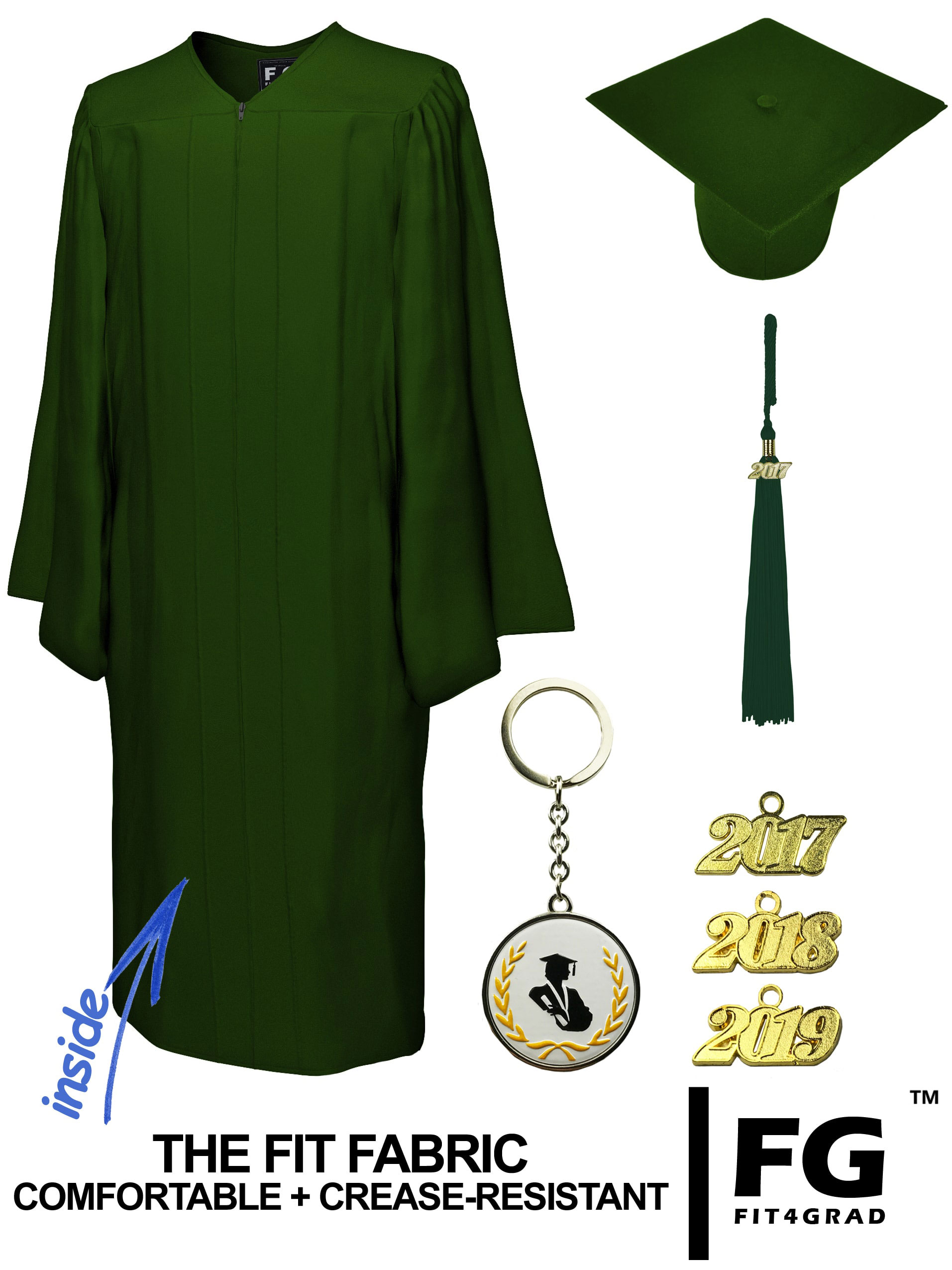MATTE FOREST GREEN CAP AND GOWN-rs4251465611270