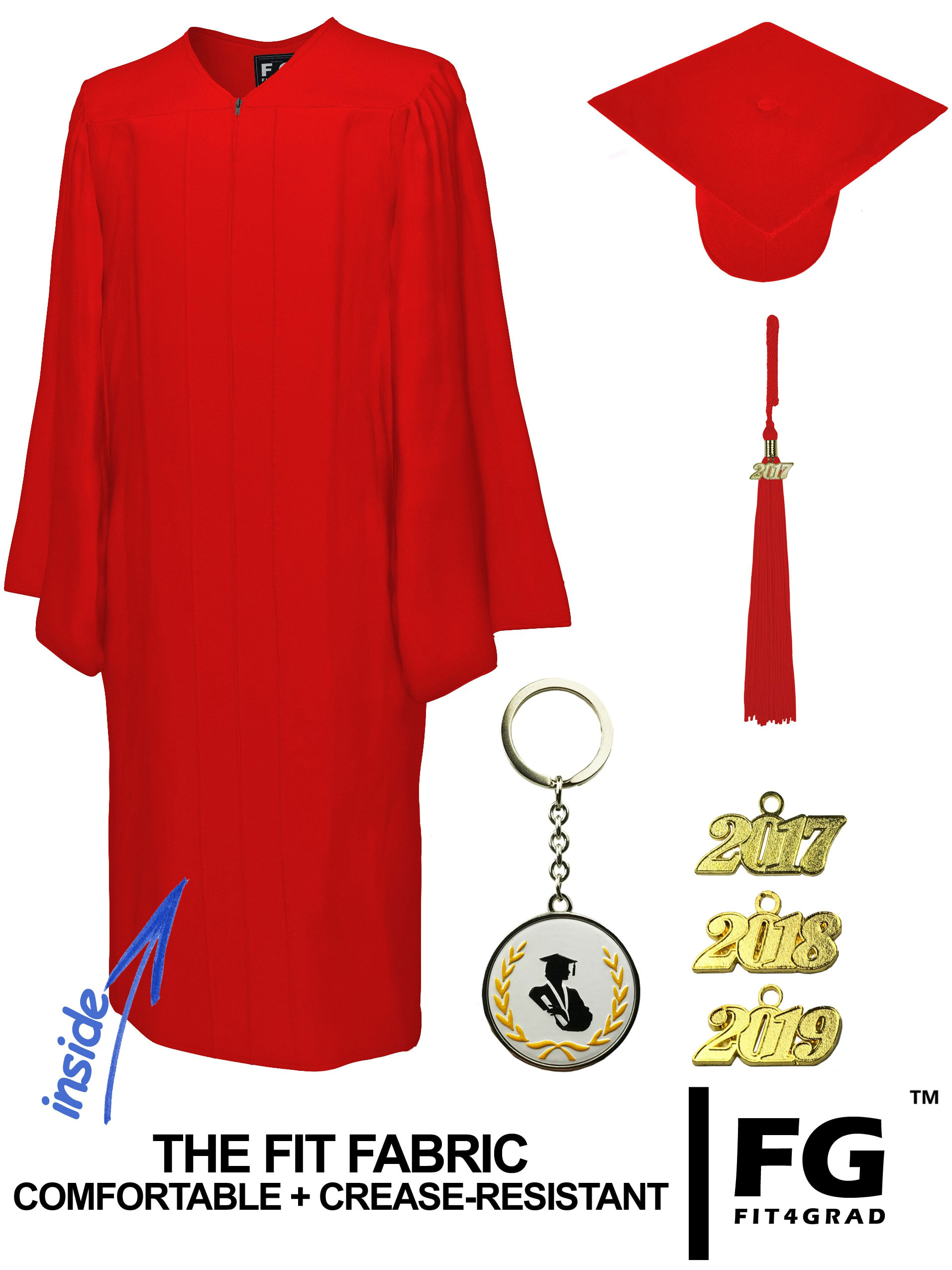 MATTE RED CAP & GOWN BACHELOR GRADUATION SET-rs4251465601202