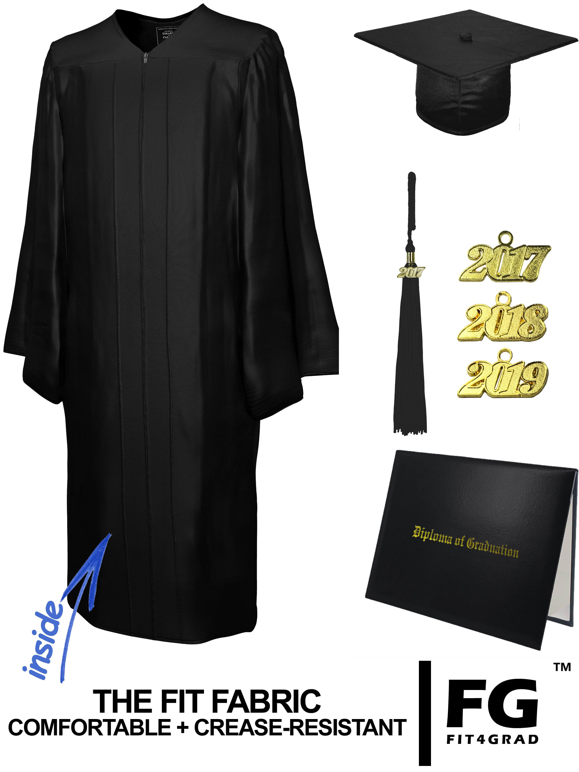 SHINY BLACK CAP, GOWN, TASSEL, DIPLOMA COVER SET-rs4251465611492