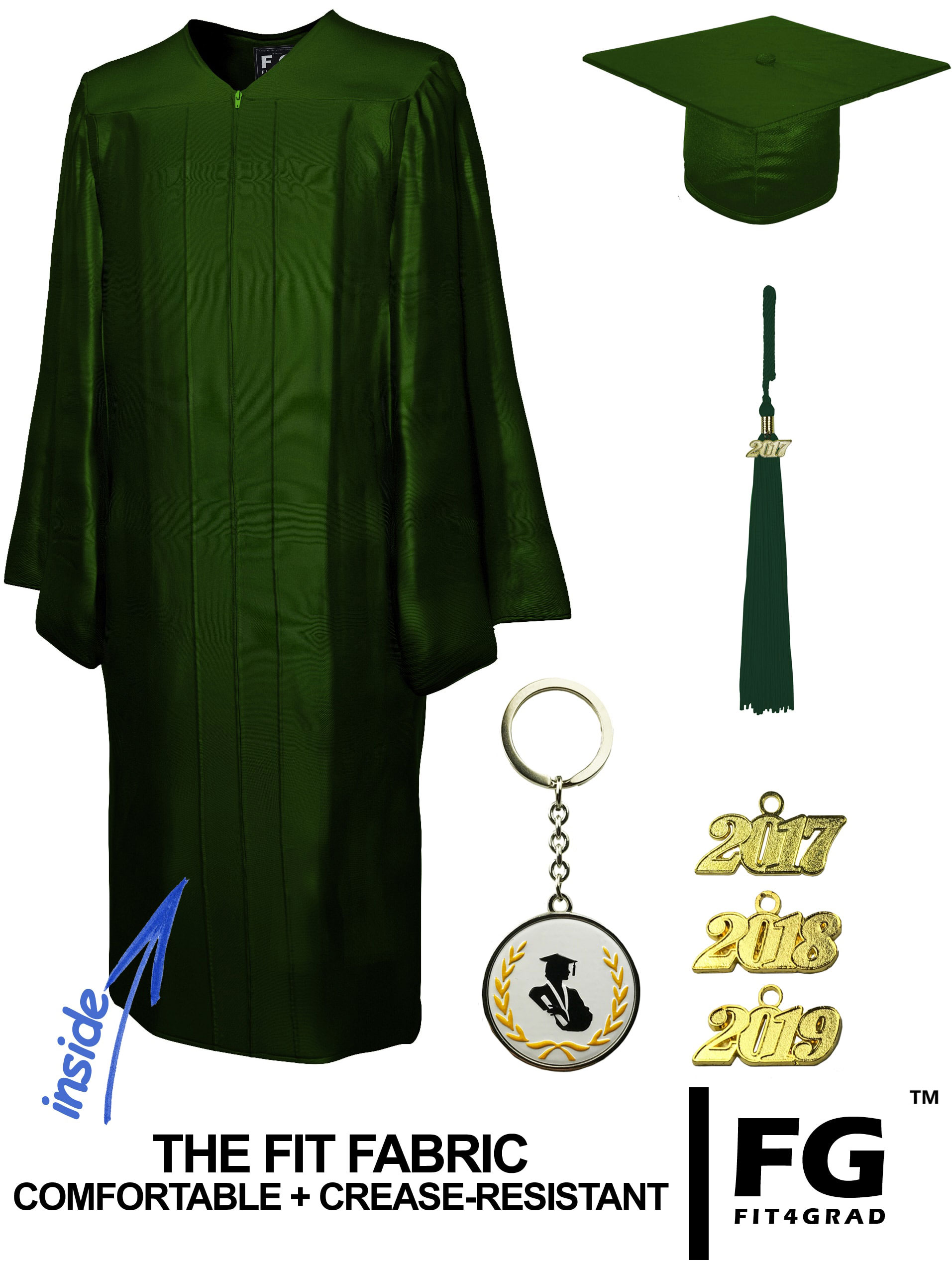 SHINY FOREST GREEN CAP & GOWN BACHELOR GRADUATION SET-rs4251465601141