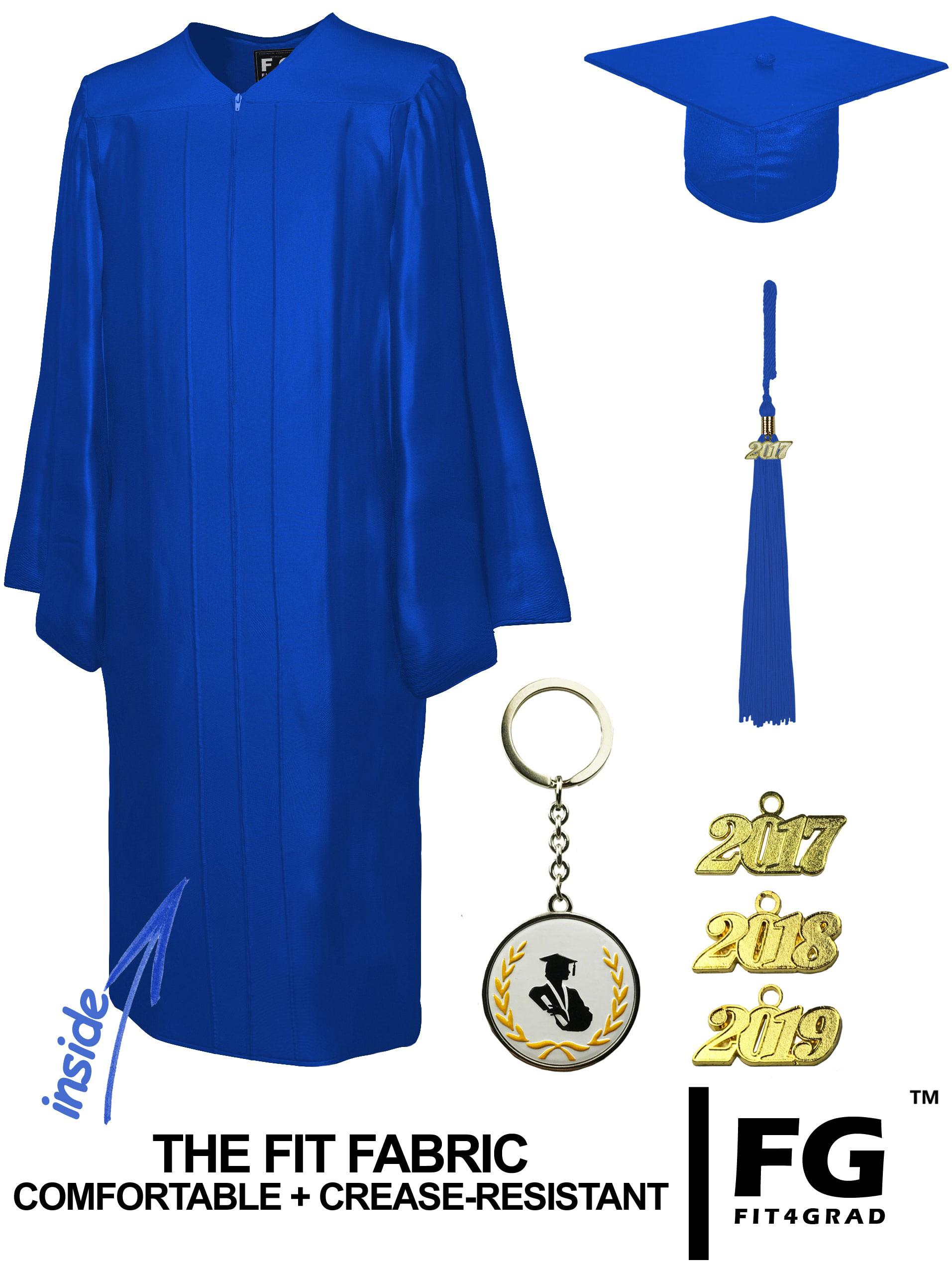 SHINY ROYAL BLUE CAP & GOWN BACHELOR GRADUATION SET-rs4251465601110