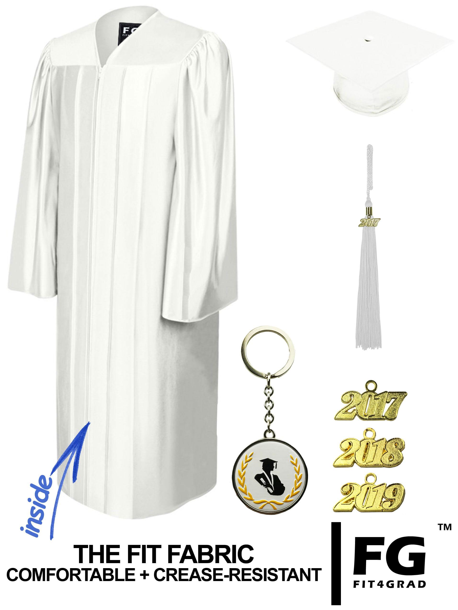 SHINY WHITE CAP & GOWN BACHELOR GRADUATION SET-rs4251465601134