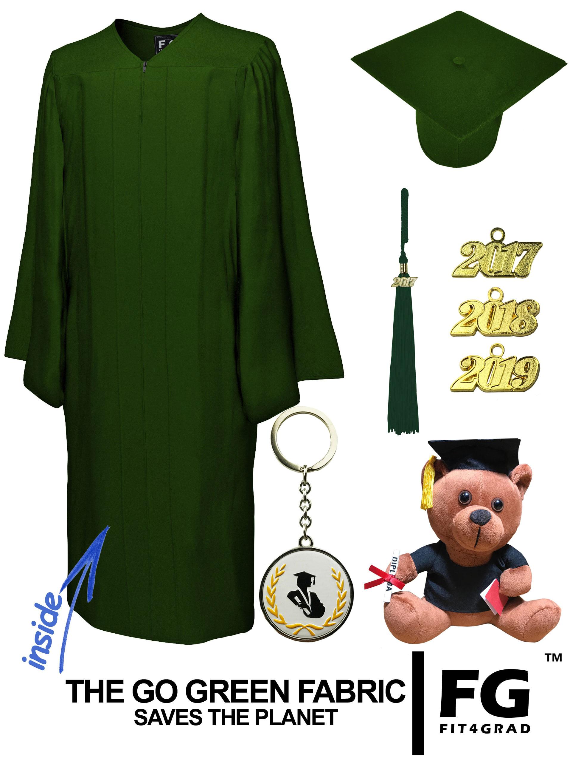 GO GREEN FOREST GREEN CAP, GOWN, GRADUATION BEAR SET-rs4251465614110