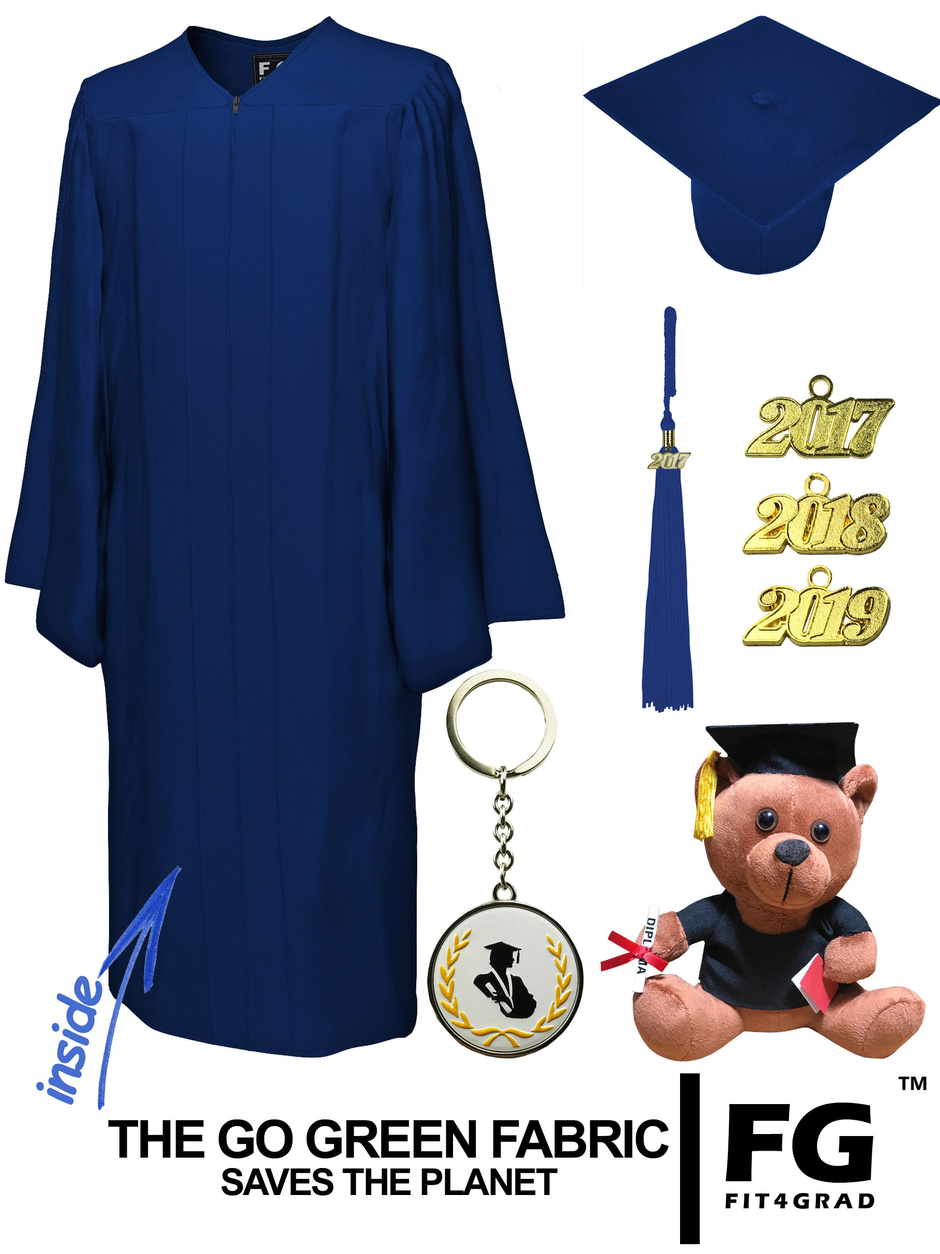 GO GREEN NAVY BLUE CAP, GOWN, GRADUATION BEAR SET-rs4251465614028