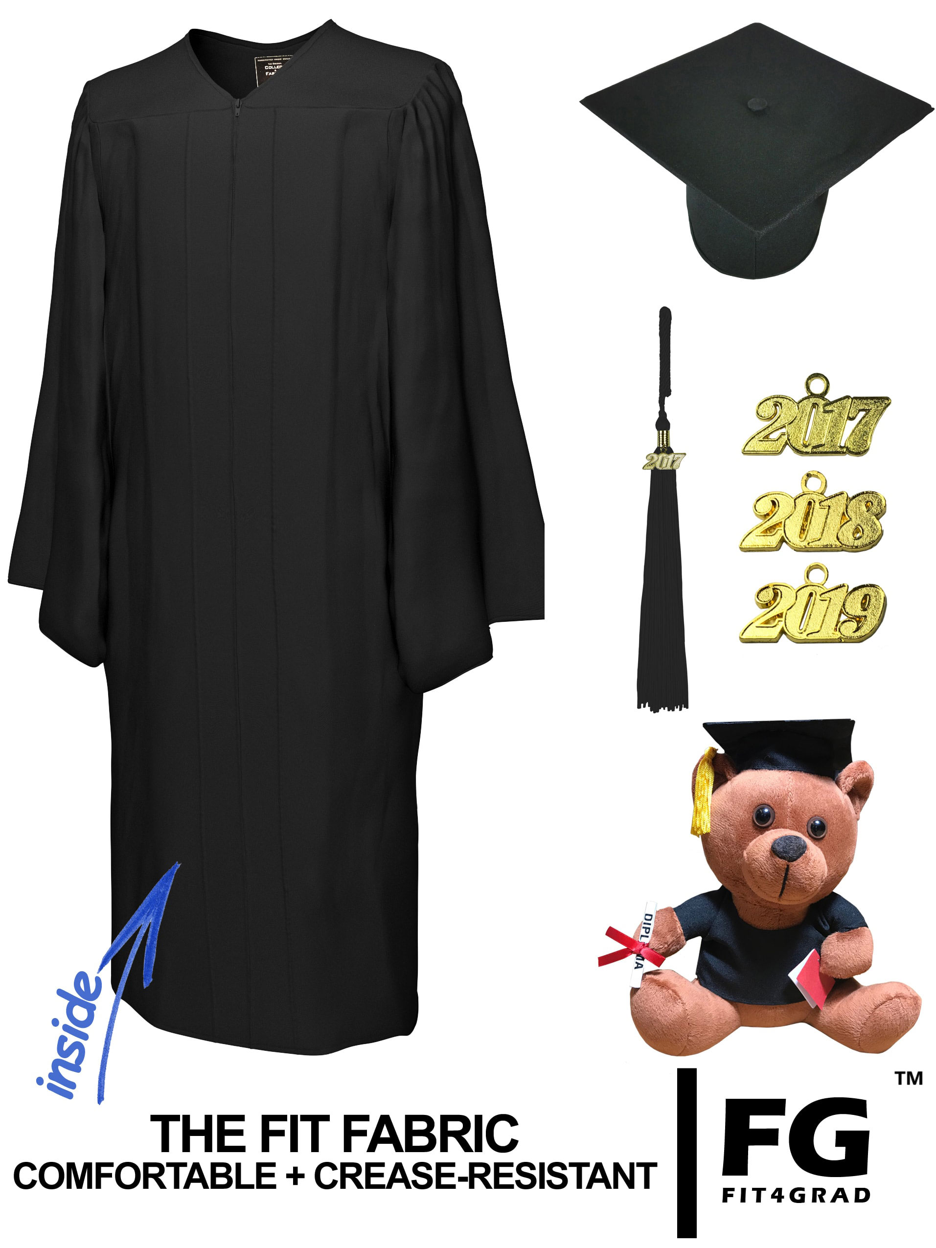 MATTE BLACK CAP, GOWN, GRADUATION BEAR SET-rs4251465613458