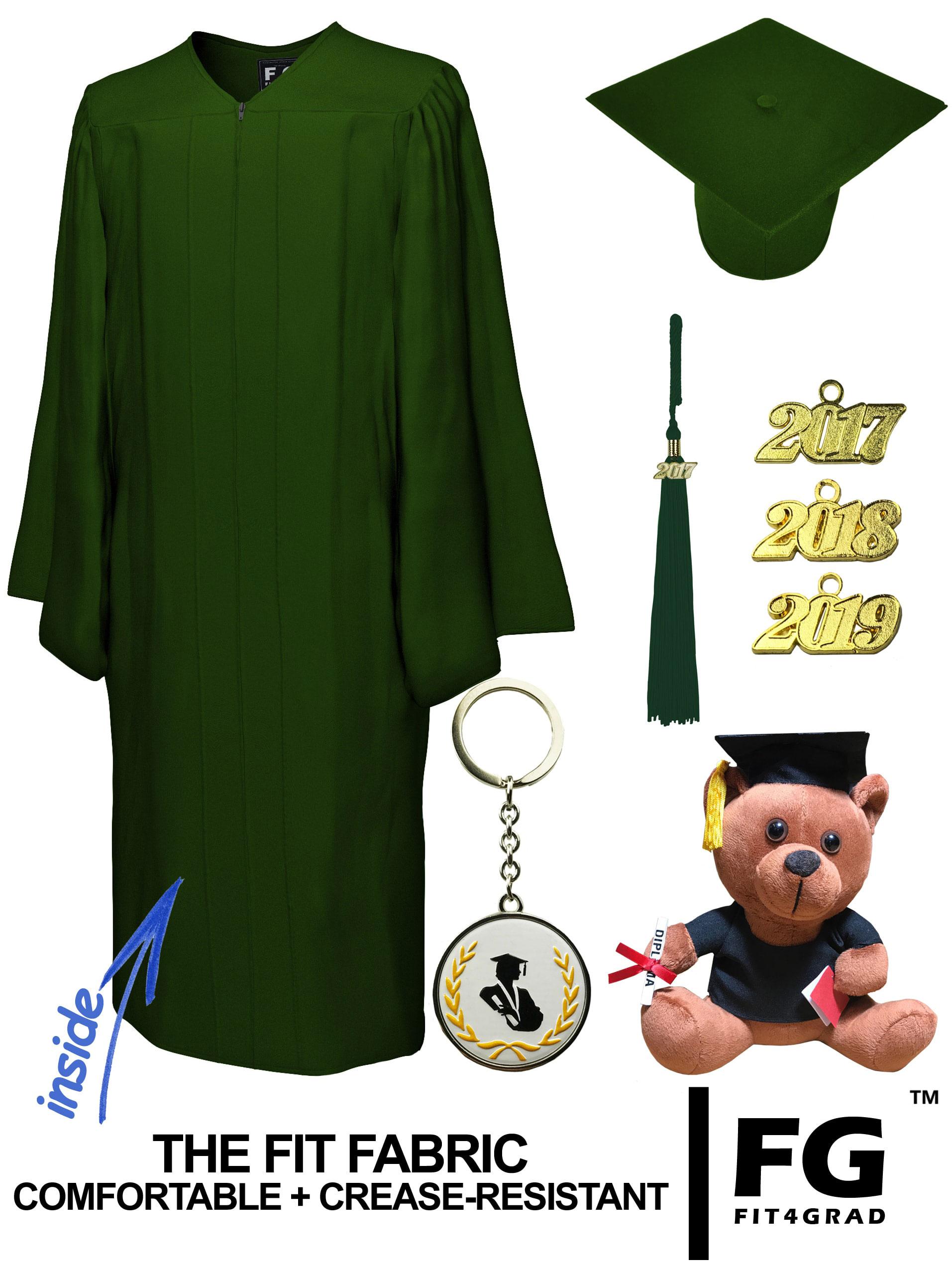 Matte Forest Green Cap Gown Graduation Bear Set Rs4251465613496