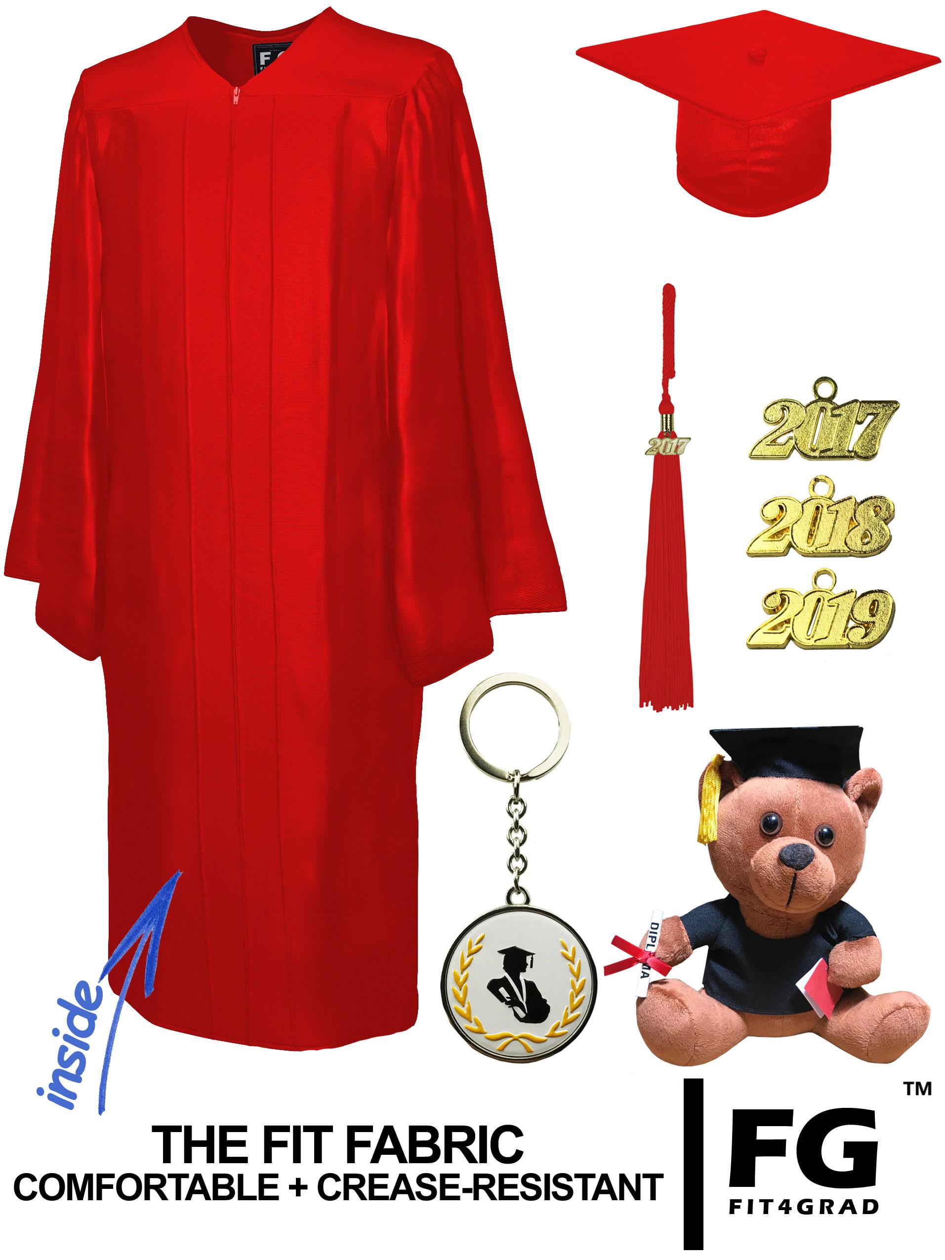 SHINY RED CAP, GOWN, GRADUATION BEAR SET-rs4251465613434