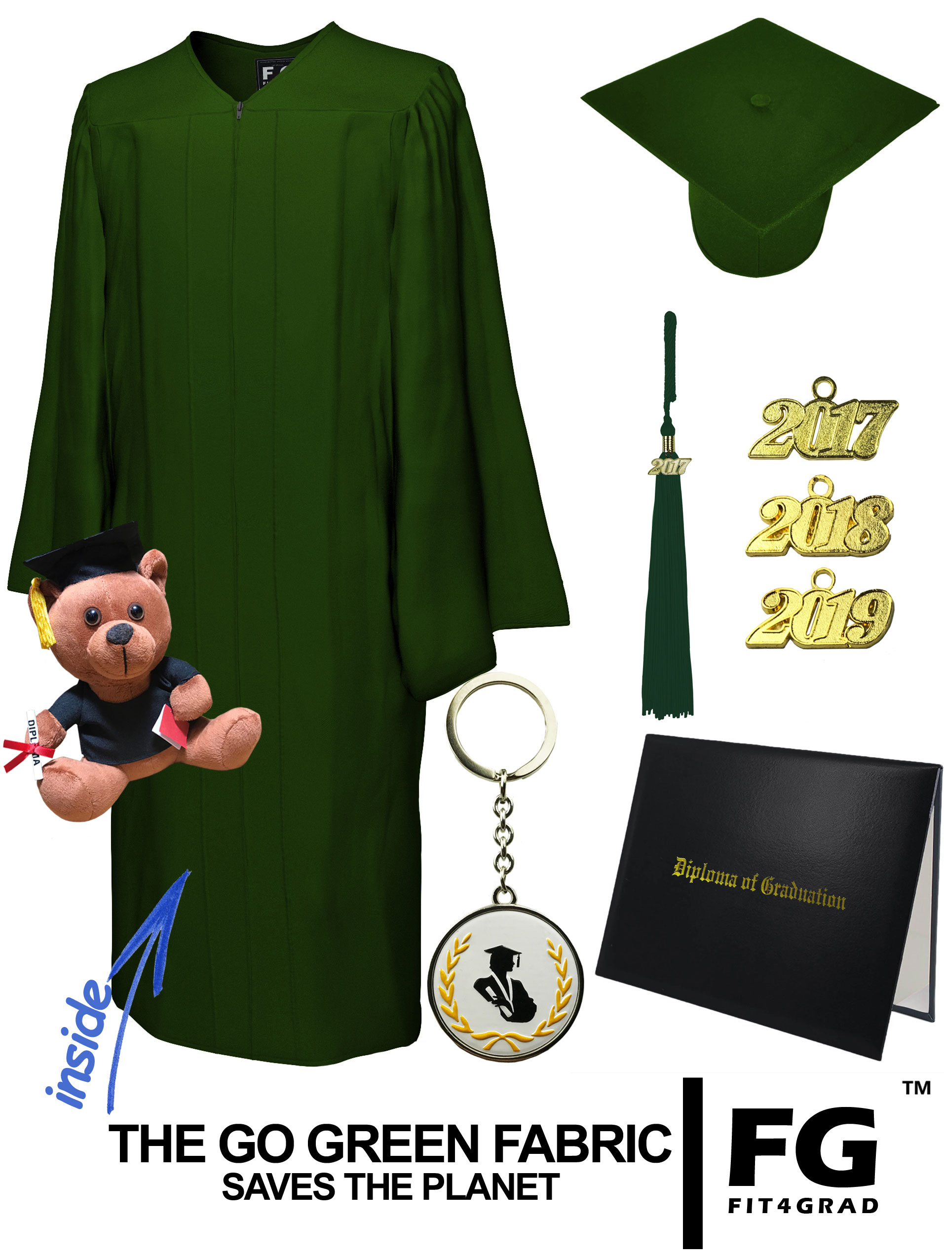 GO GREEN FOREST GREEN CAP, GOWN, DIPLOMA COVER, BEAR SET-rs4251465615377