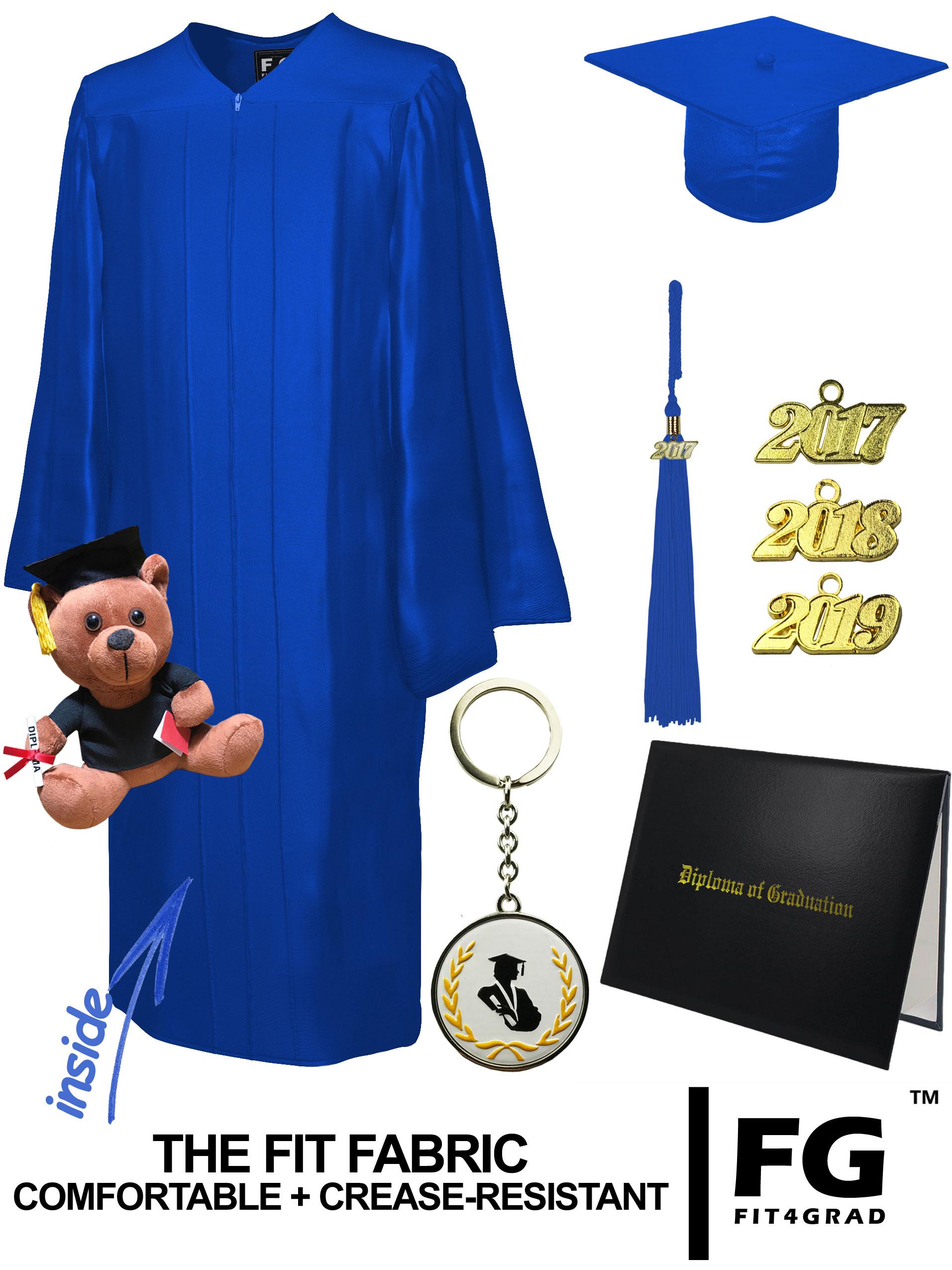 SHINY ROYAL BLUE CAP, GOWN, DIPLOMA COVER, BEAR SET-rs4251465614448