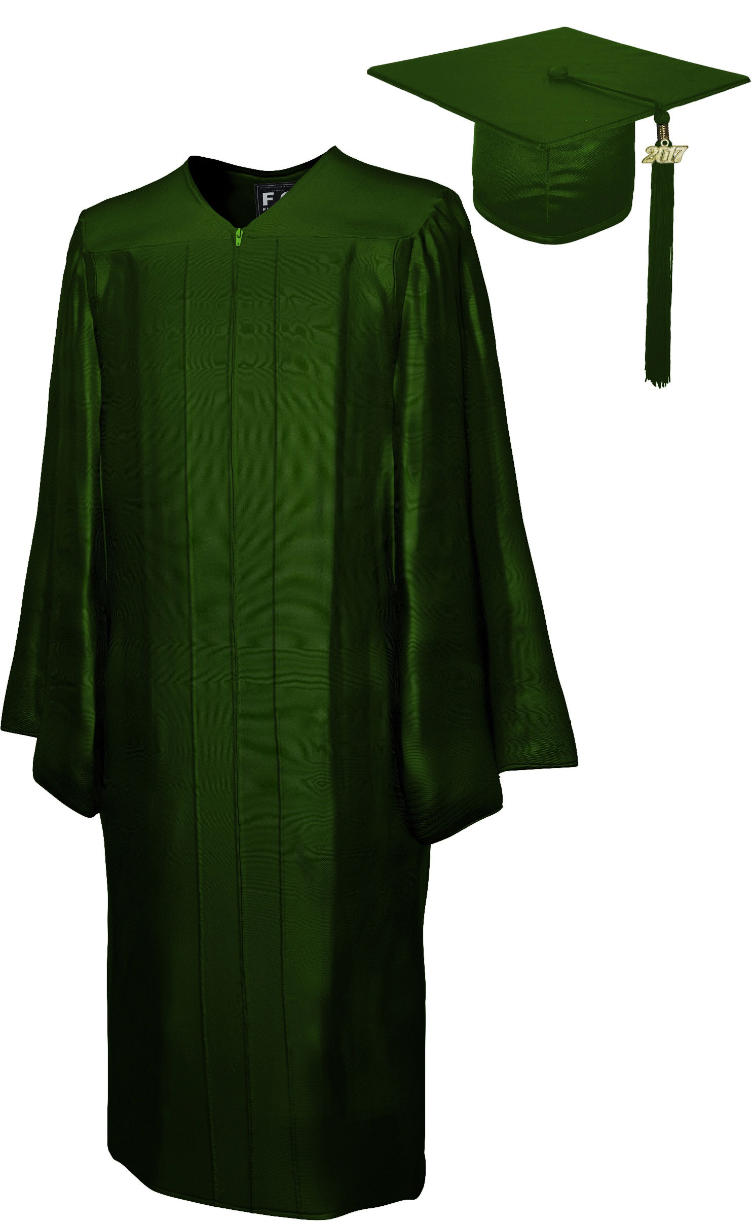 SHINY FOREST GREEN CAP & GOWN MIDDLE SCHOOL JUNIOR HIGH GRADUATION ...